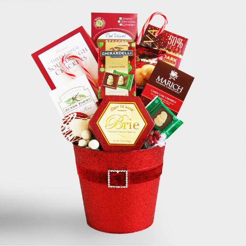 Santa Holiday Tin Gift Basket