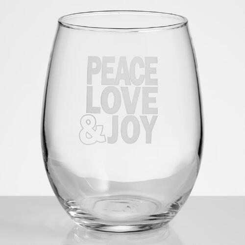 Peace, Love, Joy Stemless Wine Glasses, Set of 4