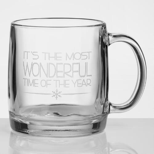 Wonderful Time of the Year Etched Mugs, Set of 4