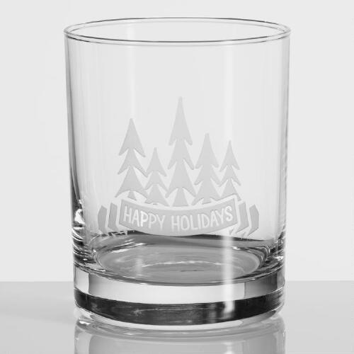 Happy Holiday Etched DOF Glasses, Set of 4