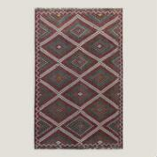 6.3x10 Vintage Multicolor Diamond Turkish Area Rug