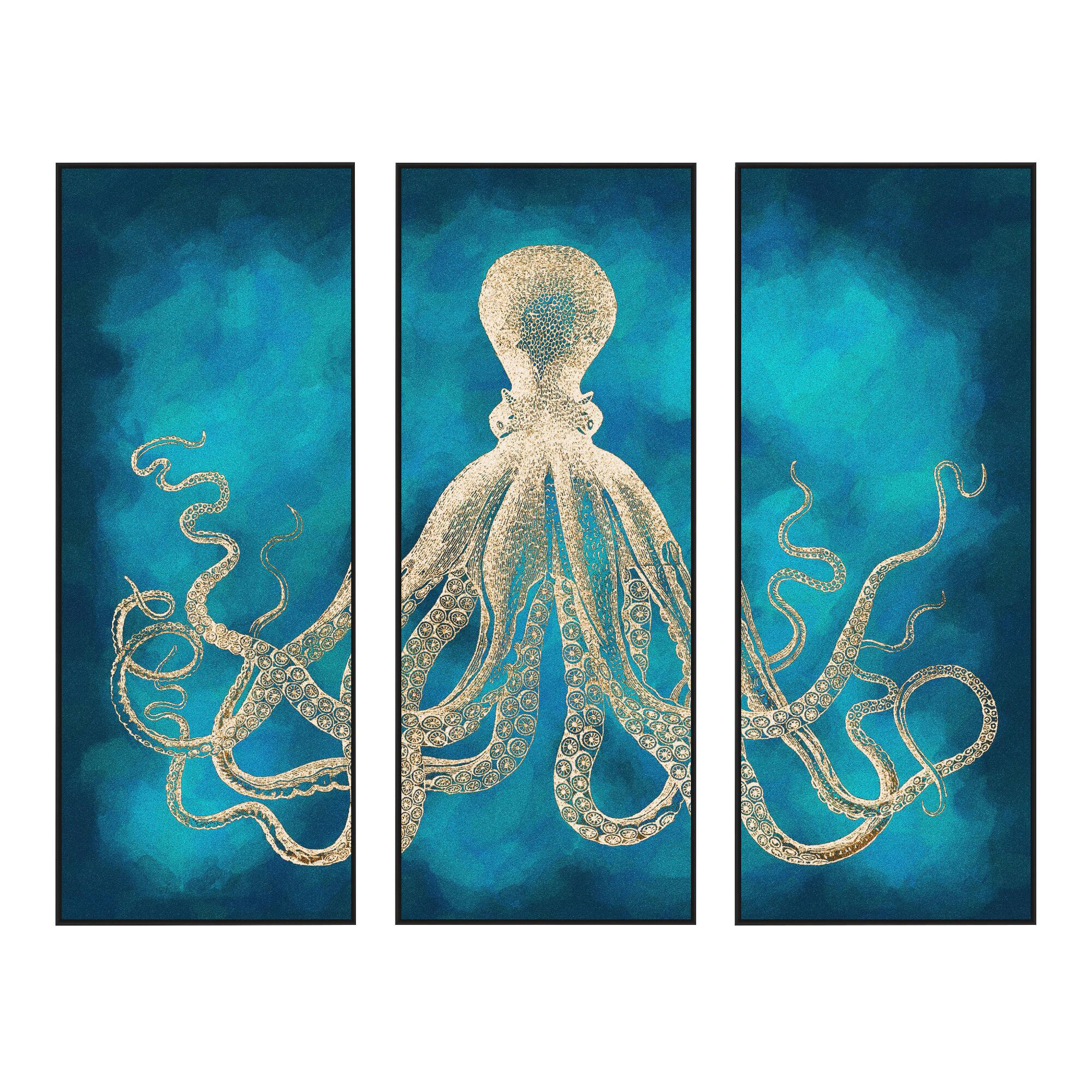 Octopus sea life wall art 3 piece world market for 3 piece wall art