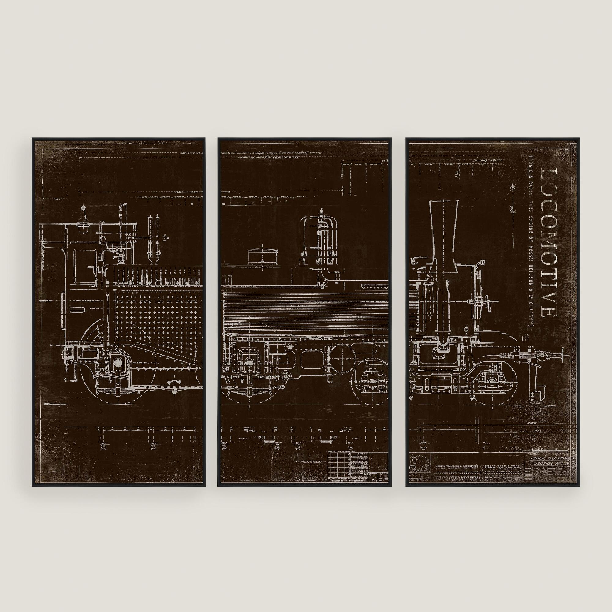 Locomotive train sketch wall art 3 piece world market for 3 piece wall art