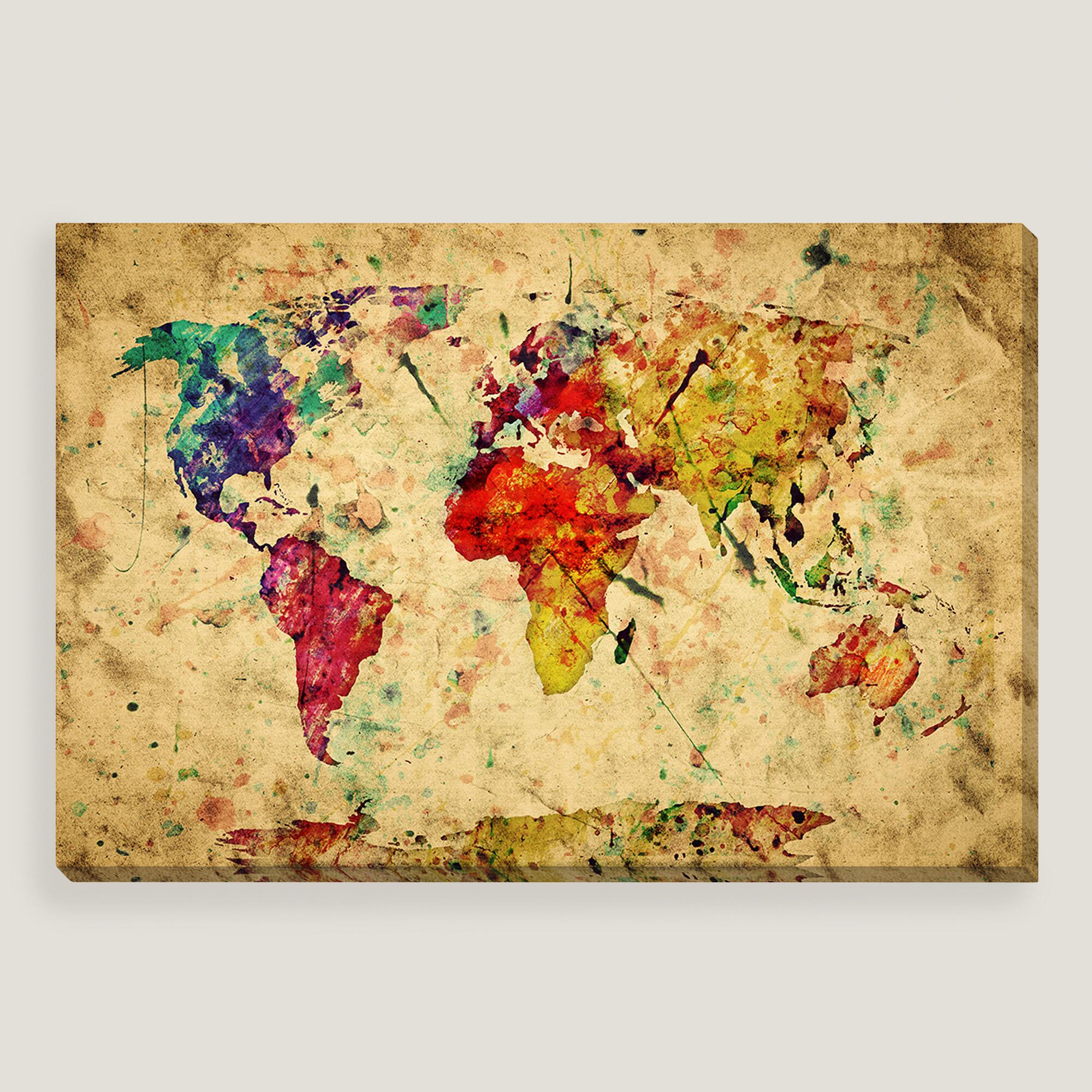 Vintage style world map wall art world market for Vintage wall art