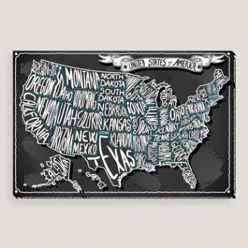 USA on Vintage Handwriting Blackboard Wall Art