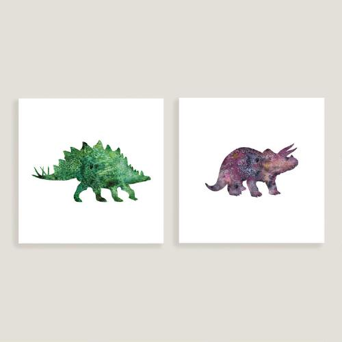 Stegosaurus and Triceratops Wall Art, Set of 2