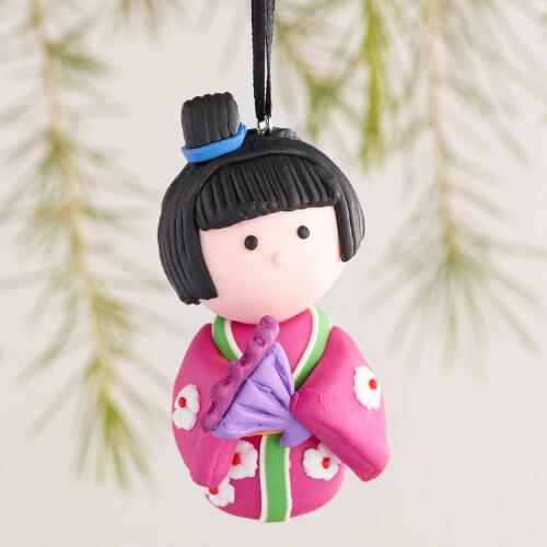 Clay Geisha Ornaments, Set of 4