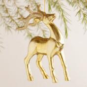 Gold and Silver Glitter Stag Ornaments, Set of 4