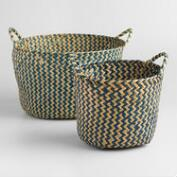 Indigo Round Michelle Storage Baskets