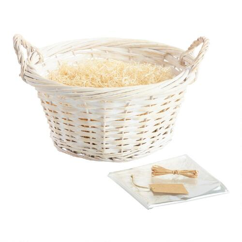 Large Round White Basket Kit