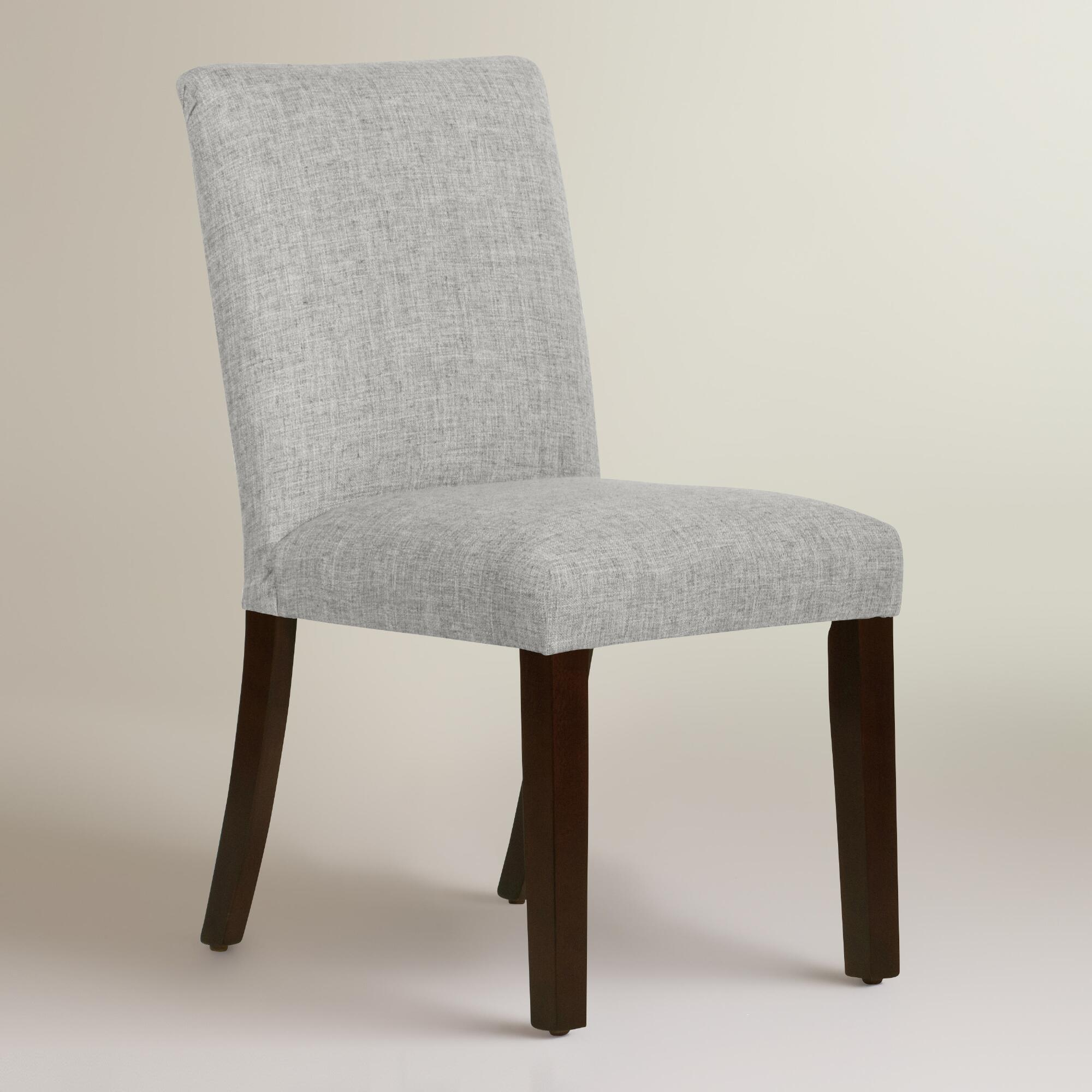 Linen blend kerri upholstered dining chair world market for Upholstered linen dining chairs