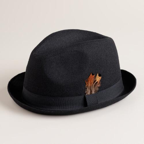 Black Fedora with Feather