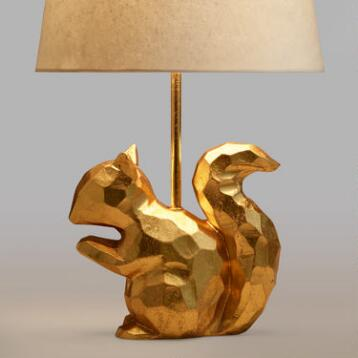 Gold Geo Squirrel Accent Lamp Base