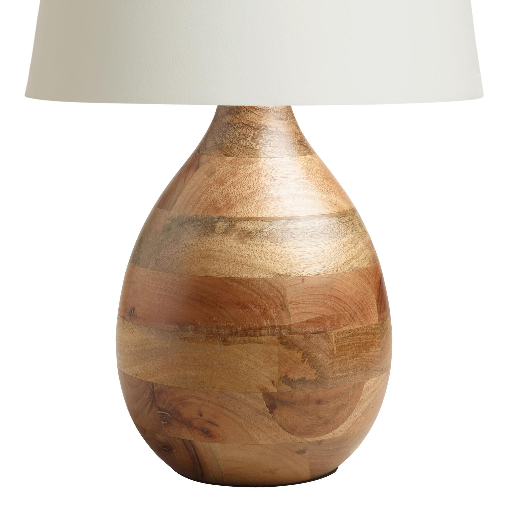 Wood teardrop table lamp base world market for Lamp wooden