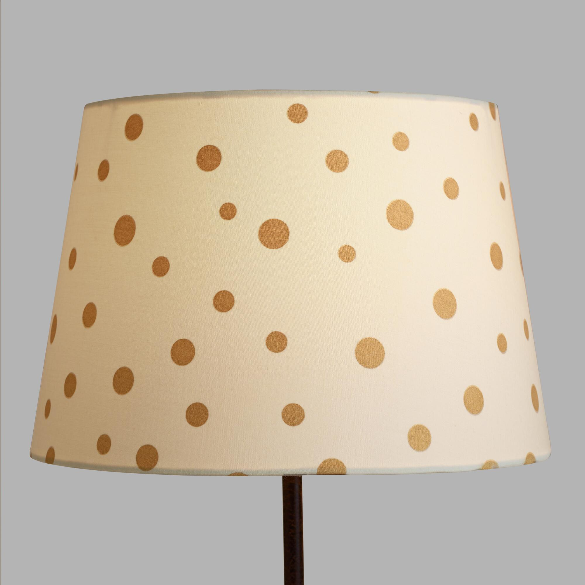 gold french dots linen accent lamp shade world market. Black Bedroom Furniture Sets. Home Design Ideas