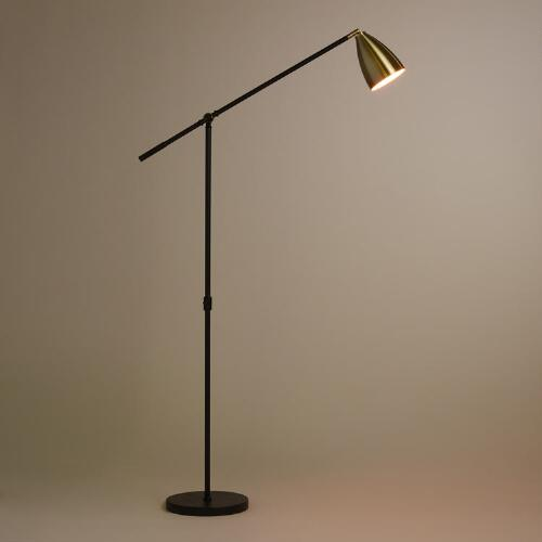 Brass and Black Articulating Dexter Floor Lamp