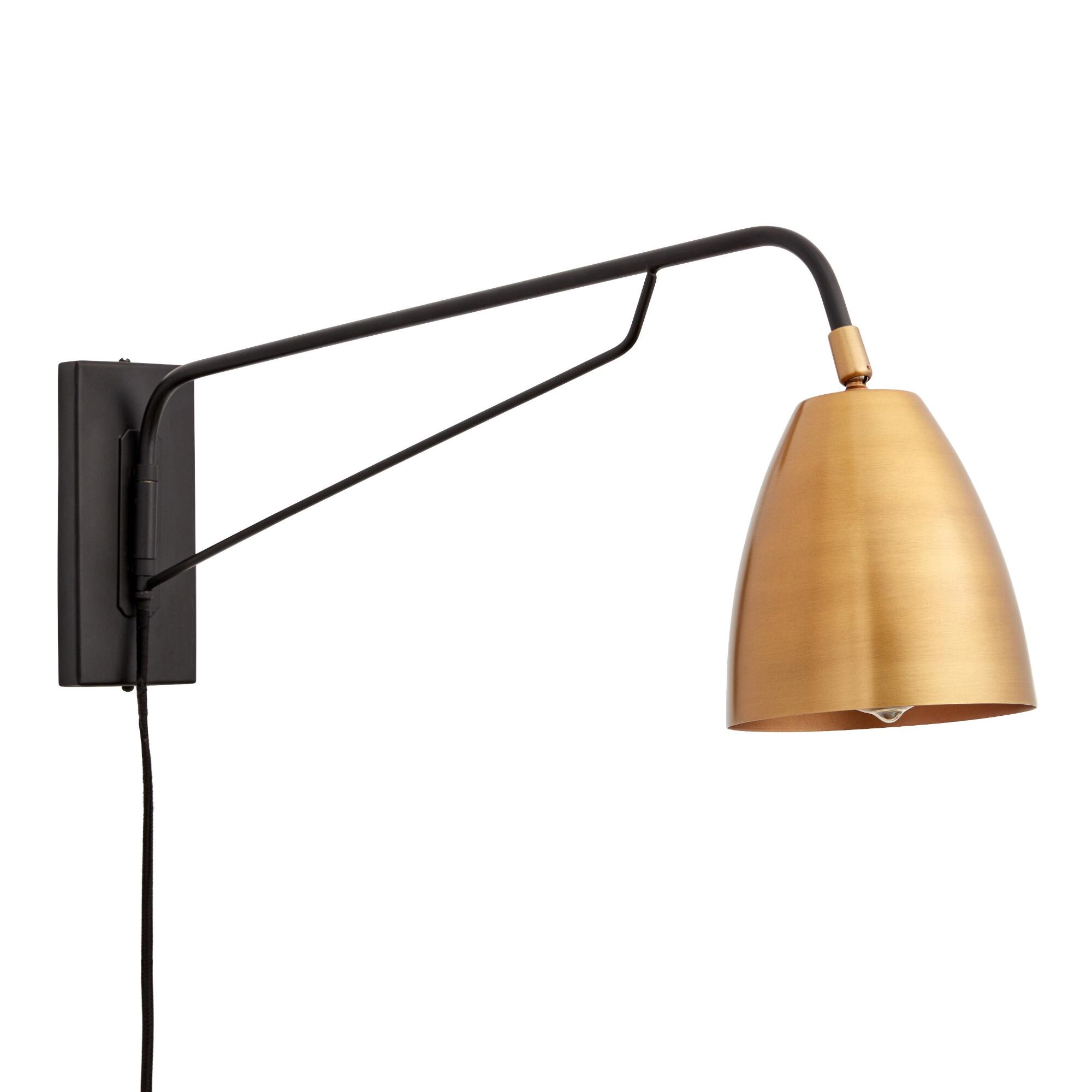 Wall Sconce Lighting Ideas : Brass Nook Pivoting Wall Sconce World Market