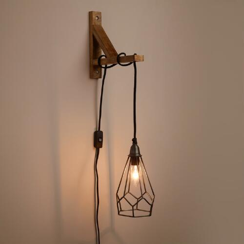Metal Pendant with Wood Bracket Wall Sconce