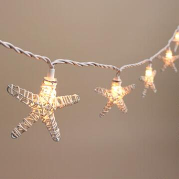 White Rattan Starfish 10 Bulb String Lights