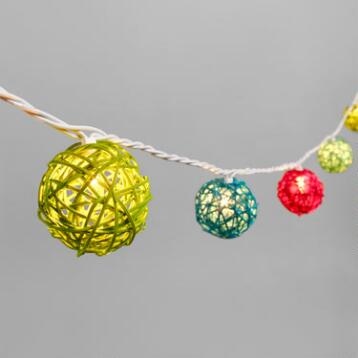 Multicolor Rattan Orb 30 Bulb String Lights