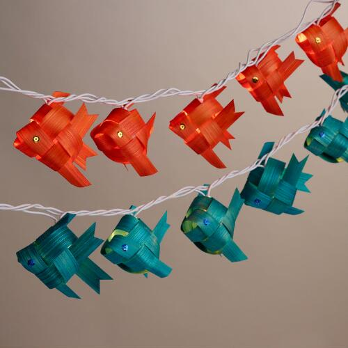 Bamboo fish 20 bulb string lights set of 2 world market for Fish string lights
