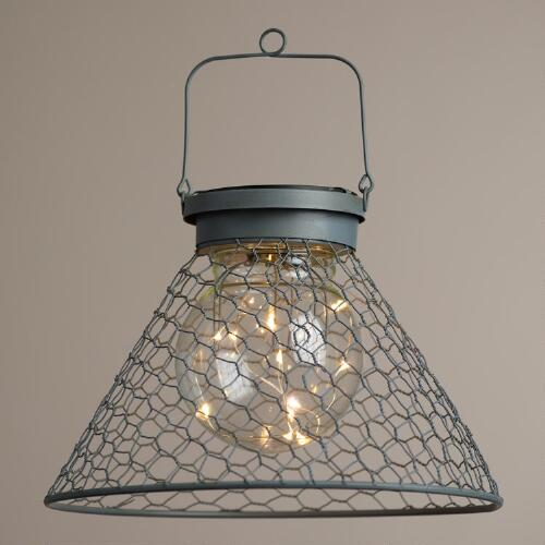 Antique Gray Wire Solar LED Lantern