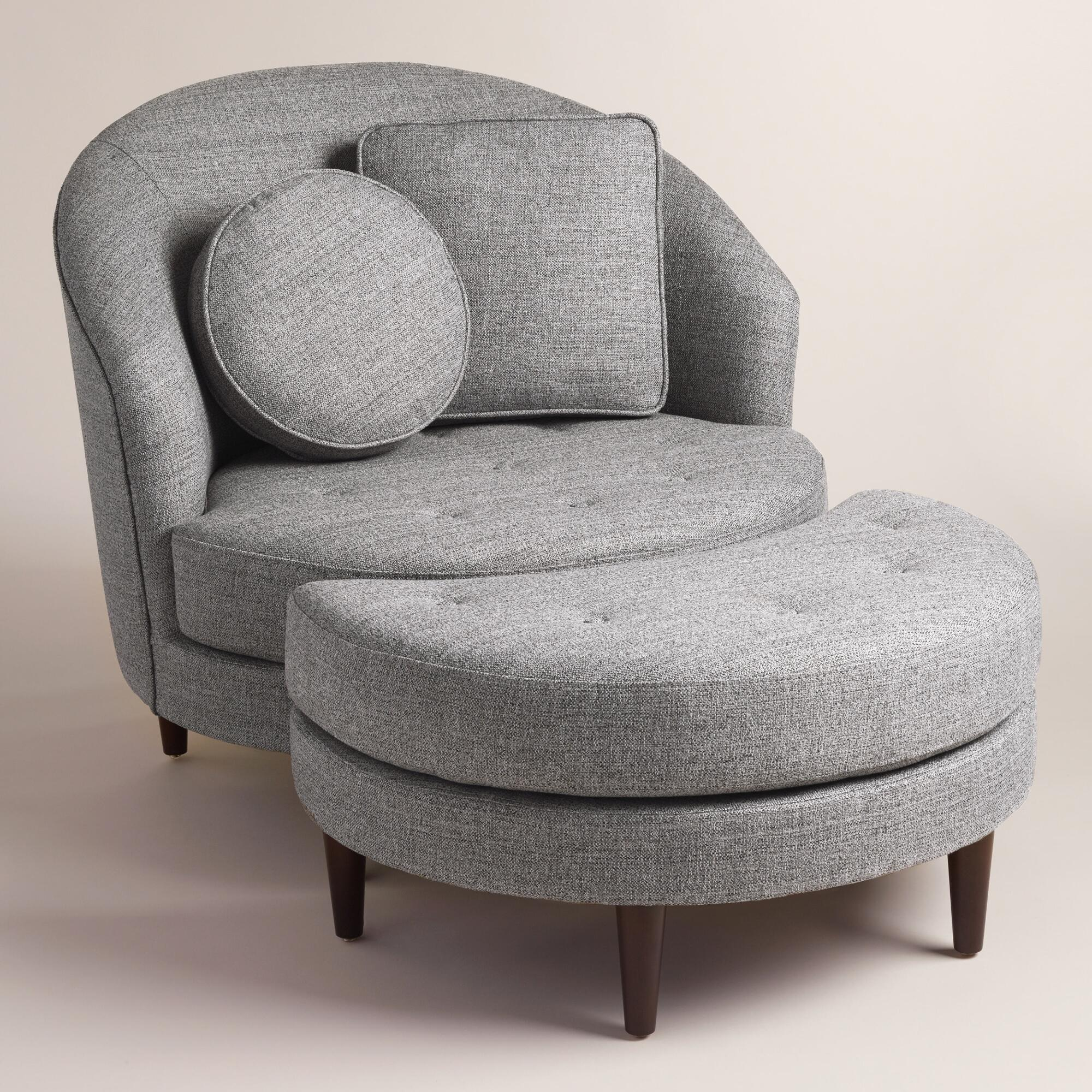 Gray seren round seating collection world market for Round sofa chair living room furniture