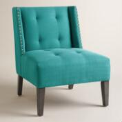 Peacock Blue Carlin Wingback Chair