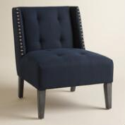 Midnight Blue Carlin Wingback Chair