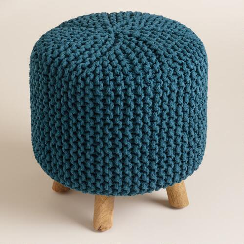 Blue Chunky Knit Nia Stool