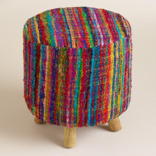Silk Chindi Rug Nia Stool