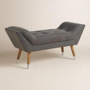 Charcoal Gray Antonia Tufted Bench
