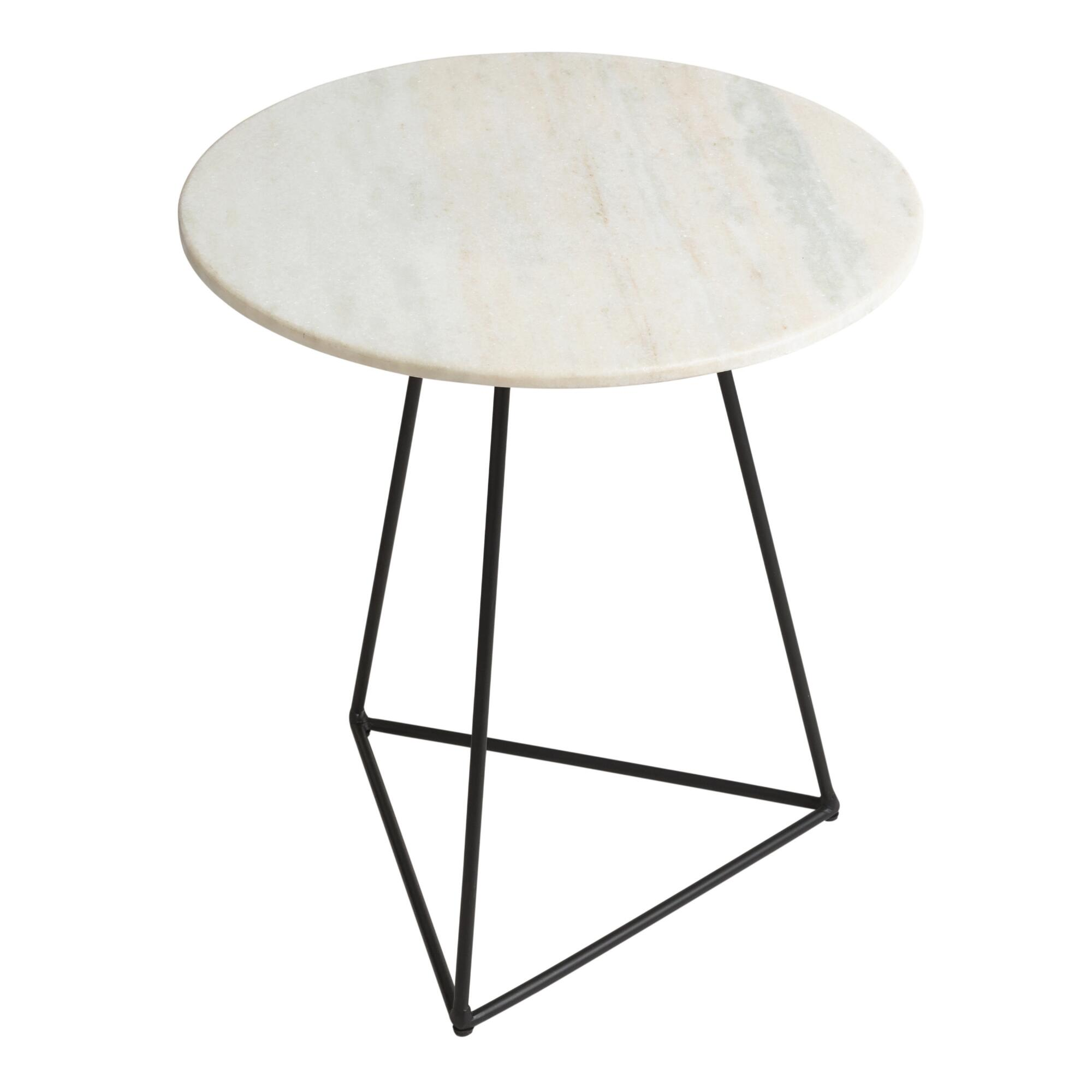 White Marble Table : White marble and metal round accent table world market