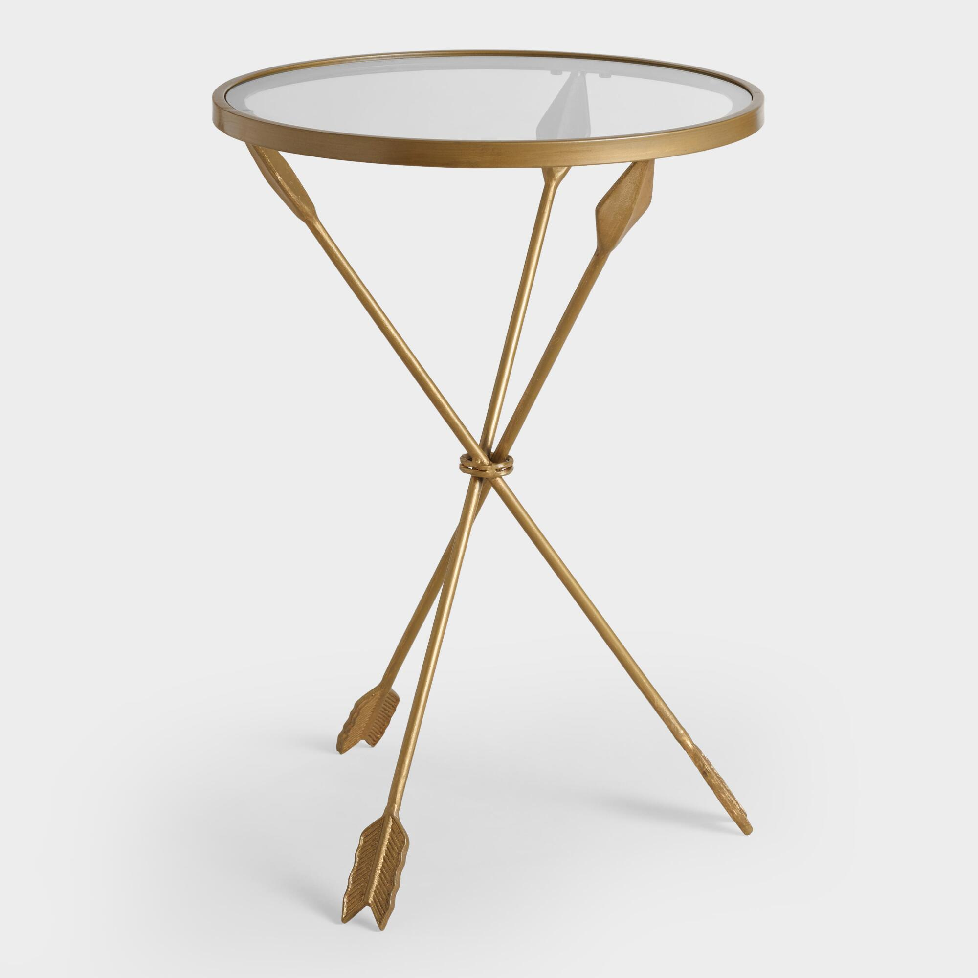 Gold metal and glass arley accent table world market Glass coffee and end tables