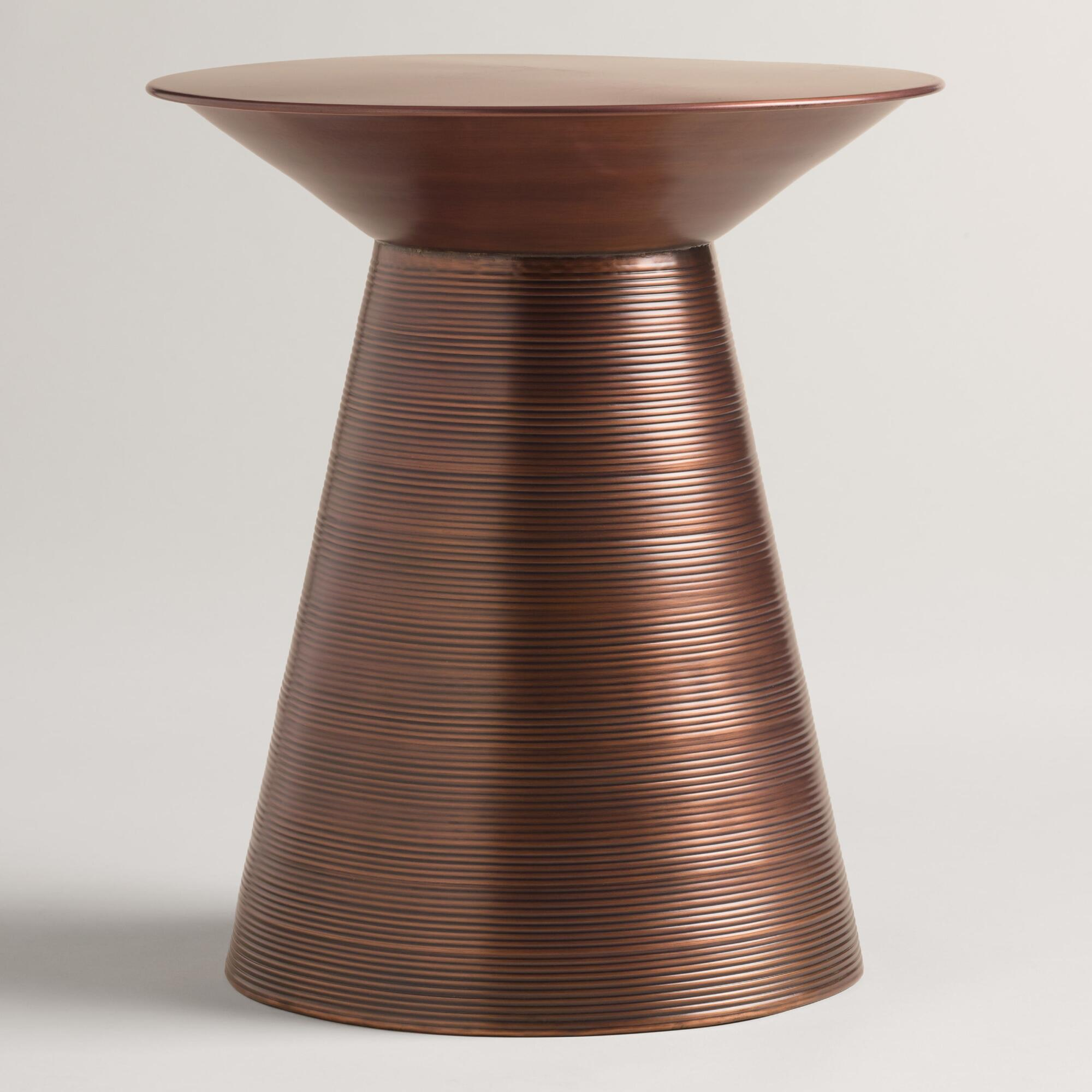 Coffee Table Cala Hammered Coffee Table World Market Round: Copper Metal Nali Drum Table