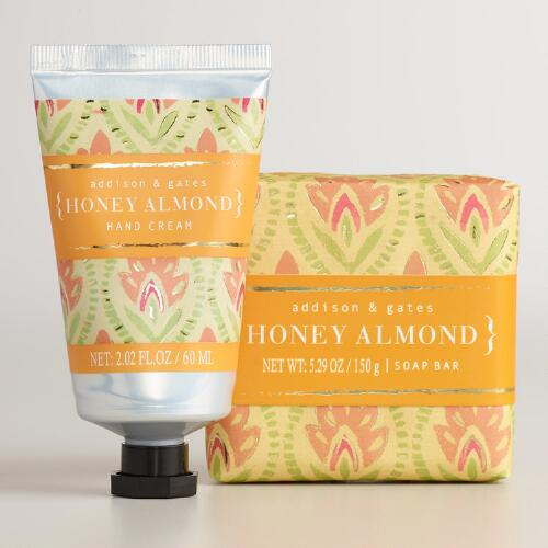A&G Block Print Honey Almond  Bar Soap and Hand Cream Collection