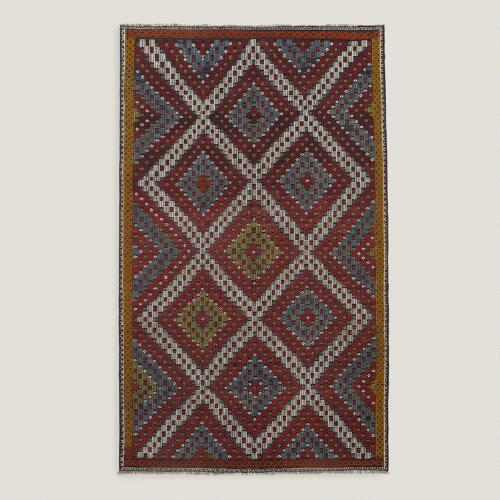 6x9.8 Vintage Multicolor Diamond Turkish Area Rug