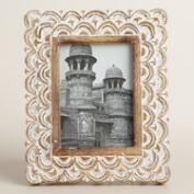 White and Gold Carved Wood Mira Frame