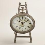 Gray Metal Oval Julia Easel Clock