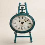 Teal Metal Oval Julia Easel Clock