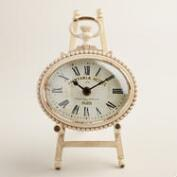 White Metal Oval Julia Easel Clock