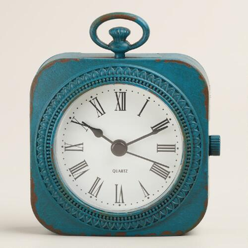 Teal Metal Abbie Pocket Watch Clock