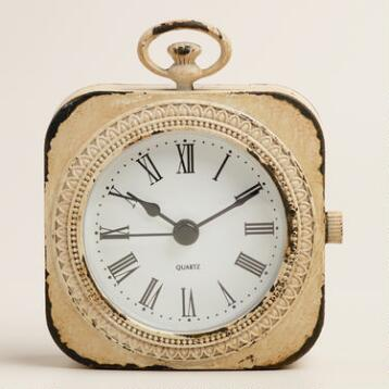 White Metal Abbie Pocket Watch Clock