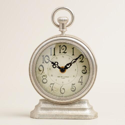 Silver Metal Carly Clock