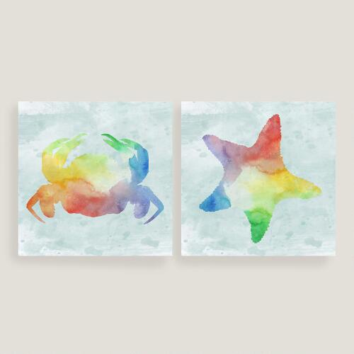 Nautical Seahorse and Crab Canvas Set of Two