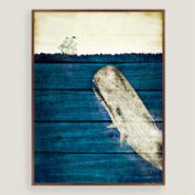 Rustic Framed Blue Whale Wall Art