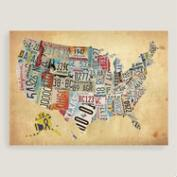 USA Map Canvas Wall Art