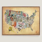 Rustic Wood USA Map Wall Art