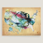 Watercolor USA Map Canvas Wall Art
