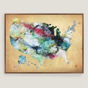 Rustic Watercolor USA Map Wall Art
